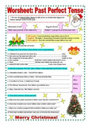 English Worksheet: Worksheet : Past Perfect tense