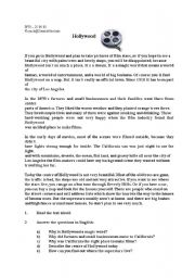 English Worksheet: The city of Hollywood