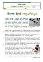 English Worksheet: I haven�t lost enough wqeight yet  Reading for Upper Intermediate or Lower Advanced students