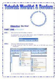 English Worksheet: Tutorial N°2 - WordArt & Borders