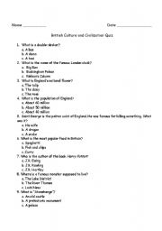 English Worksheet: british culture and civilisation