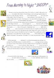 English Worksheets: Snoopy�s Daily Routine