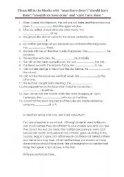 English Worksheet: must have done/should have done/should not have done/can not have done