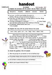 English Worksheets: handout about festivals