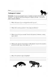 English Worksheets: Endangered anmial