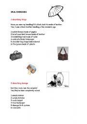 English worksheet: describing things 1