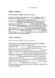 English worksheet: Cloze quiz