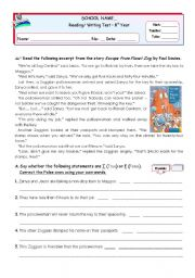 English Worksheets: Escape from Planet Zog - Reading Comprehension Test  for 7/8th graders