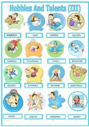 English Worksheets: Hobbies And Talents  ( III )