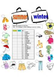 ... worksheets > Clothes > Summer clothes > Summer & Winter clothes