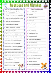 English Worksheets: Questions and Mistakes