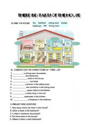 English Worksheet: THERE + BE / PARTS OF THE HOUSE