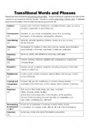 English Worksheet: transitional words and phrases