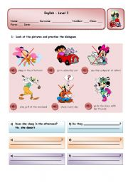 English Worksheets: DOES SHE SLEEP IN THE AFTERNOON?