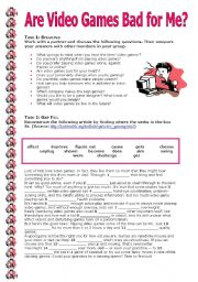 English Worksheets: Are Video Games Bad for Me?