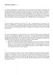 English Worksheet: Role plays - Travel Agency