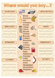 English Worksheet: Where would you buy...?