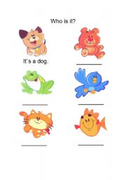 English Worksheets: Animals (Who is it?)