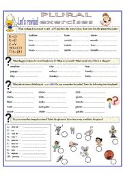 English Worksheet: PLURAL EXERCISES