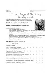 English Worksheet: Urban Legends Writing
