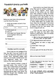 English Worksheet: Friendship is good for your health