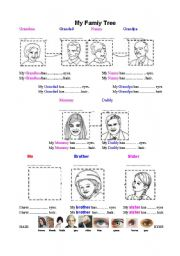 English Worksheets: Work Sheet - My Family Tree - Names and hair/eye colour