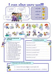 English Worksheet: I can sing very well!