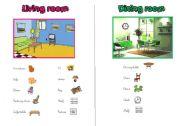 English Worksheet: LIVING ROOM - DINING ROOM