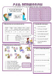 English Worksheet: CAN - permission