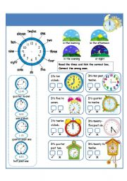 English Worksheet: I can tell the time I part