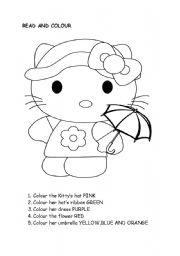 English Worksheet: COLOUR HELLO KITTY
