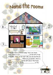 english worksheets name the rooms. Black Bedroom Furniture Sets. Home Design Ideas