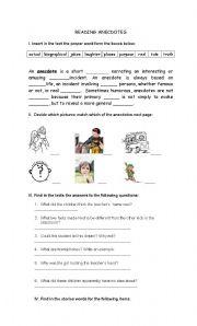 English Worksheets: ANECDOTES