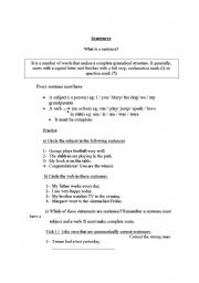 English Worksheets: What is a sentence?