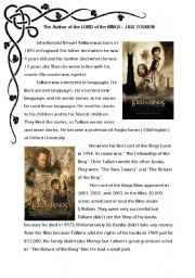 English Worksheet: The author of the Lord of the Rings - Simple Past-
