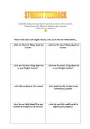 English Worksheets: Student feedback - a questionnaire to evaluate your lessons