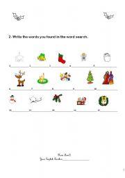 English worksheet: Christmas vocabulary - Part II