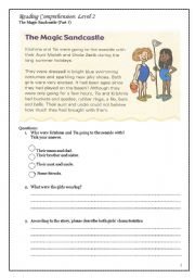 English Worksheets: The Magic Sand Castle