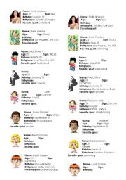 English Worksheet: PROFILES (name, age, sign, birthday, birthplace, favorite sport)