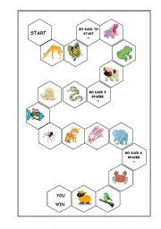 English Worksheet: Animal Board Game