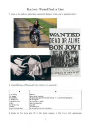 English Worksheet: Bon Jovi - Dead or Alive