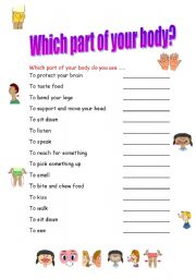 English Worksheets: Which part of your body?