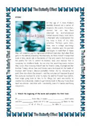 English Worksheets: Movie Activity: The Butterfly Effect