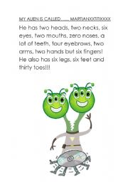 English Worksheets: My alien is called....
