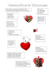 English Worksheet: valentine rhymes