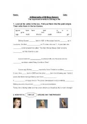 English Worksheet: Biography and Interview with Britney Spears