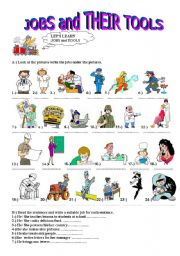English Worksheets: jobs and their tools