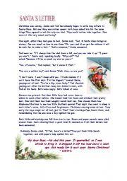 English Worksheet: Santa�s Letter