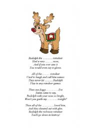 graphic relating to Lyrics Rudolph the Red Nosed Reindeer Printable named Rudolph the pink-nosed reindeer - ESL worksheet by way of inom
