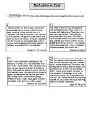 English Worksheet: My First Day at School:Reading,Language and Writing Tasks.